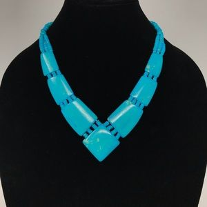 Vintage Short Faux Turquoise Necklace Synthetic